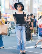 Tattooed Harajuku Girl in Emoda Off Shoulder Top, Fringe Denim & Wide Brim Hat