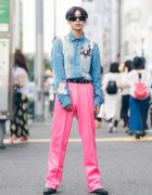 Harajuku Streetwear Look w/ D&G Denim Dragon Shirt, Pink Pleated Pants, Balenciaga Belt & Sackpack