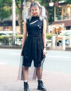 Twin-Tailed Harajuku Girl in Gothic Fashion w/ Sleeveless Top, Sheer Skirt, Fishnets & Boots