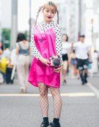 Harajuku Girl in Little Sunny Bite Satin Dress, Flying Tiger Pug Bag & Dr. Martens Shoes