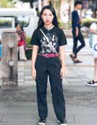 All Black Vintage Harajuku Fashion w/ Kiss Band T-Shirt & Metallic Sling Bag