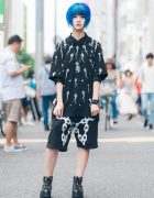 Blue-Haired Harajuku Girl in Far Star Fashion, Kill Star Bag & Yosuke USA Boots