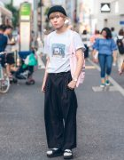 Japanese Performer Takkun in Harajuku Wearing Minimalist Street Style w/ I&ME, Jeffrey Campbell, Opening Ceremony & Daniel Wellington