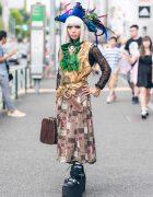 Japanese Steampunk Street Style w/ Pirate Hat, Antique Accessories, Vintage Suitcase & Yosuke Platform Boots