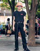 Harajuku Guy in Black Vintage Street Style w/ The Sopranos, Jouetie & Jerry Pink