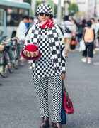 Avant-Garde Checkerboard Harajuku Street Style w/ Bowler Hat, Vintage Playing Cards & Chelsea Boots