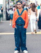 Dog Town Denim Overalls, M.Y.O.B. NYC Top, Adidas Headband & Nike Sneakers in Harajuku