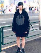 Harajuku Girl in Black Oversized Hoodie,