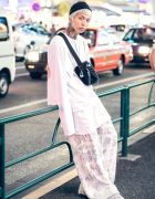 All White Harajuku Street Style w/ Neck Tattoo, Refaitslaves, Vans & Places+Faces