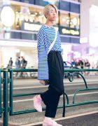 Japanese Hair Stylist in Striped Street Style w/ Tunagi Japan, Dog Kyoto, Peace Minus One & Vans