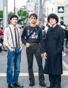 Harajuku Trio in Mens Streetwear Styles w/ SebasTian, Gucci, Akira, Calvin Klein, Comme des Garcons & Dr. Martens