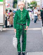 Green Kenzo Tiger Print Jumpsuit, Issey Miyake Bao Bao, Yosuke & Faith Tokyo Street Style