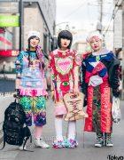 Harajuku Girls in Colorful Eclectic Streetwear w/ FOTUS, Space Tribe, Sabre, Damage, Dog Harajuku, Hoyajuku, Pinnap, Sunkus x Family Mart & Moonzone
