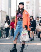 Japanese Teen in Harajuku Street Style w/ NASA Bomber Jacket, Slipknot T-Shirt, Open The Door & Bubbles