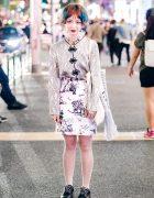 Harajuku Girl w/ Colorful Hair, Floral Top, Print Skirt & Room Boy Pony Bag
