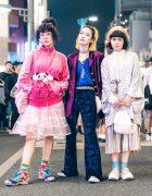 Stylish Harajuku Trio in Handmade & Vintage Street Fashion + Jenny Fax & Tokyo Bopper