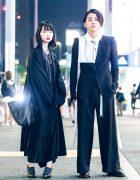 Monochromatic Minimalist Japanese Street Styles w/ Ann Demeulemeester, Yohji Yamamoto Y's, Alexander McQueen, Kujaku by Takuma Nishizaka & United Nude