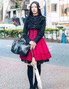 Horned Harajuku Girl in Gothic Lolita Fashion w/ Black Peace Now, Atelier Pierrot, Hamoon & Anna Sui