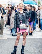 Japanese Rock Chic Fashion w/ Leather Jacket, Romantic Standard, Oh Pearl, 6%DOKIDOKI & Jeffrey Campbell