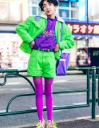 Harajuku Boy in Colorful Fun Street Style w/ Peco Club, E.T. the Extra-Terrestrial & Spinns