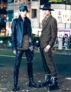 Black Leather & Plaid Suit Japanese Street Styles w/ Rick Owens, Paul Smith, Alexander McQueen & Nick Fouquet