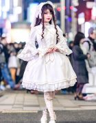 All White Japanese Lolita Fashion w/ Metamorphose Temps De Fille, Triple Fortune & Mary West