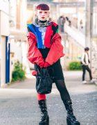 Neuron Nailz Tokyo Artist in Avant-Garde Street Fashion w/ Moschino, Patent Boots, Petal Handbag & Statement Collar