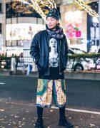 Harajuku Guy in Black Streetwear Fashion w/ Marilyn Manson, Garter, Nike, NIIMI & Okamoto Taro