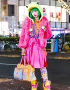 Green Hair & Kawaii Harajuku Streetwear Style w/ Galaxxxy, Super Lovers, Takuya Angel, Angel Blue & 6%DOKIDOKI