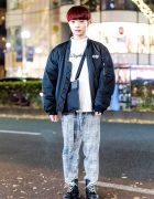 Harajuku Guy in Vintage Bomber Jacket, Plaid Pants, Gucci Bag & Vintage Lace-Up Boots