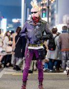 Punk Harajuku Streetwear Style w/ Blond Mohawk, Studded Black Leather Jacket, Animal Print Pants & Maroon Combat Boots