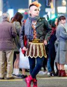 Japanese Musician in Vintage Harajuku Streetwear Style w/ Muay Thai Shorts, Vivienne Westwood Man & Milkboy