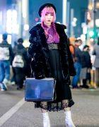 Pink-Haired Harajuku Girl in Vintage Street Style w/ Twin Braids, Black Velvet Coat, Purple Kimono Top, Black Pleated Skirt & Silver Boots