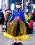 San To Nibun No Ichi Floral Top, Pleated Skirt & Demonia Platforms in Harajuku