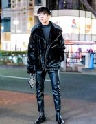 Edgy All-Black Streetwear Style w/ Faux Fur Jacket, Leather Cropped Pants & Leather Heeled Boots