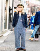 Japanese Vintage Shop Owner in Harajuku Denim Street Style w/ Round House Overalls, US Navy Boots & Cap