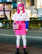 Pink Harajuku Street Style w/ Pink Twin Tails, Oh Pearl, Honwaka Pappa, Yosuke & World Vintage