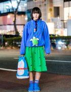 Harajuku Girl in Blue & Green Tokyo Street Style w/ Panama Boy & Nakano Ropeway