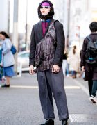 Harajuku Streetwear Style w/ Black Hood, Black Blazer, Fringe Vest & Black Boots