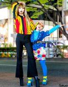 Colorful Contrasting Harajuku Street Styles w/ Vintage Fashion & Platform Heels