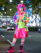 Harajuku Fashion Walk Organizer Junnyan in Kawaii Street Style, Two-Tone Hair, Galaxxxy, Takuya Angel, Buffalo & Fuzzy Monster Hat