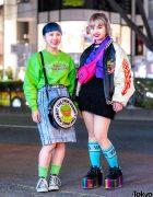 Colorful Street Fashion in Harajuku w/ Peco Club, Pinnap, Converse, YRU, Nadia, Kobinai & Kermit The Frog Bag