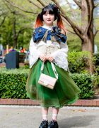 Japanese Fashion Student w/ Orange Twin Tails, Corset, Organza Skirt, Ruffle Blouse & Heart Handbag
