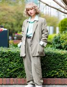 Faith Tokyo Vintage Oversized Tan Suit, Polo Ralph Lauren Striped Shirt & Fila White Sneakers
