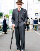 Retro Dapper Tokyo Street Style w/ Tailor-made Suit, Church's Shoes & Ramuda Umbrella