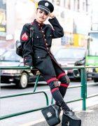 Japanese DJ in Military-Inspired Tokyo Streetwear w/ Vintage Navy Coat, MilkBoy Cutout Pants & Giant Platform Monster Shoes