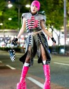 GlamHate Designer in Edgy Black & Pink Harajuku Street Style
