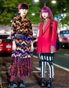 Mixed-Prints Tokyo Street Fashion w/ Coat Dress, Bondage Pants, Flame Backpack & Platform Shoes
