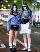 Japanese Street Styles w/ Blue-Green Hair, Puma Fenty, Polo Ralph Lauren, Vivienne Westwood & Chanel