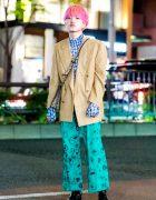 Harajuku Guy w/ Pink Hair & Mixed Prints Street Style w/ Plaid Blazer, Popcorn Top & Gucci Bag